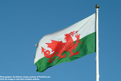 Welsh Flag, photographed by Ian Britten, courtesy of FreeFoto.com. Click the image to visit their excellent website